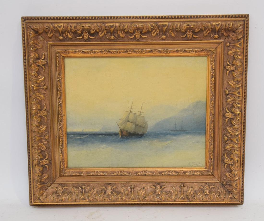 Russian Painting signed Adolph Fessler, seascape oil on
