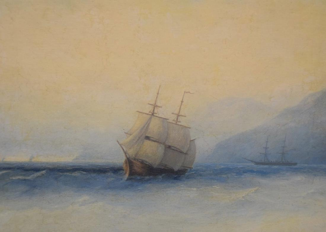 Russian Painting signed Adolph Fessler, seascape oil on - 3