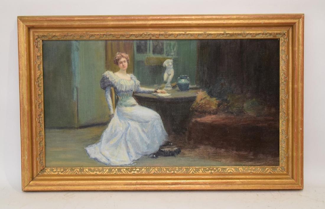 Antique Boston School Painting, oil on canvas, interior