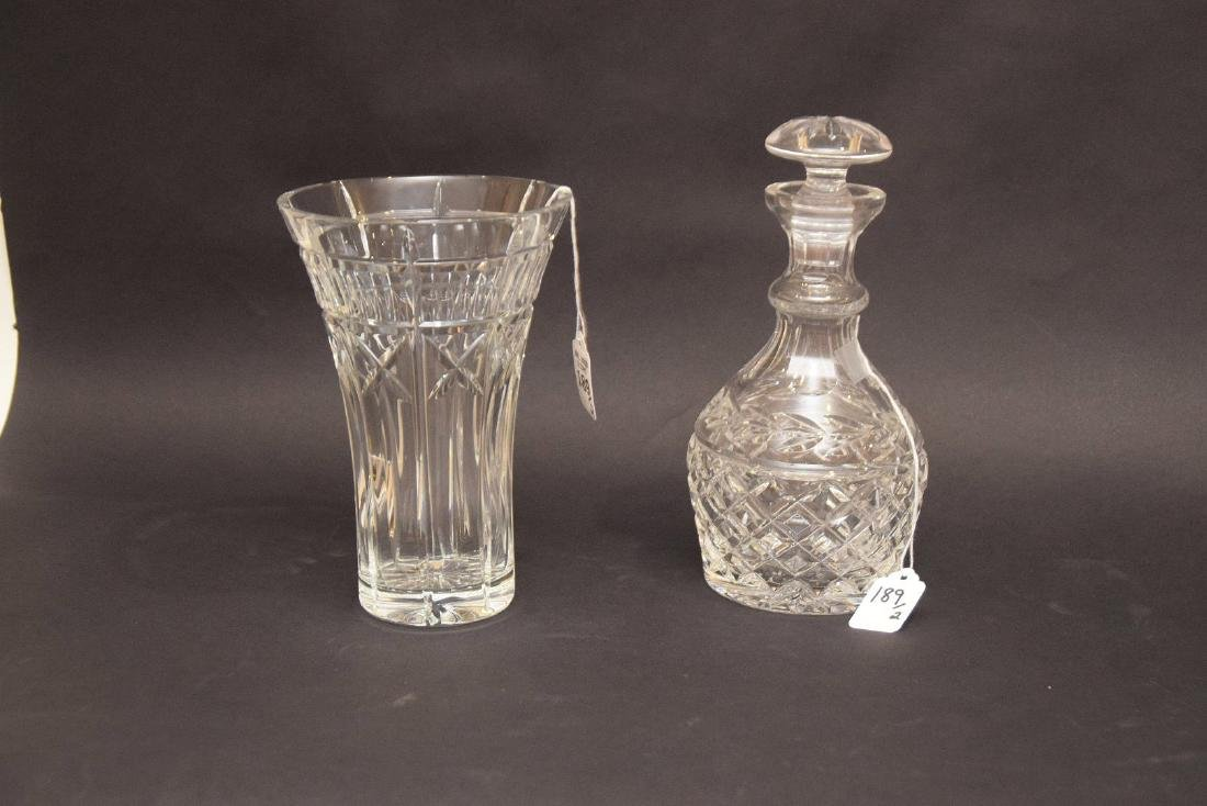 "2 WATERFORD ARTICLES.  1 WATERFORD DECANTER Ht. 9 1/2"","