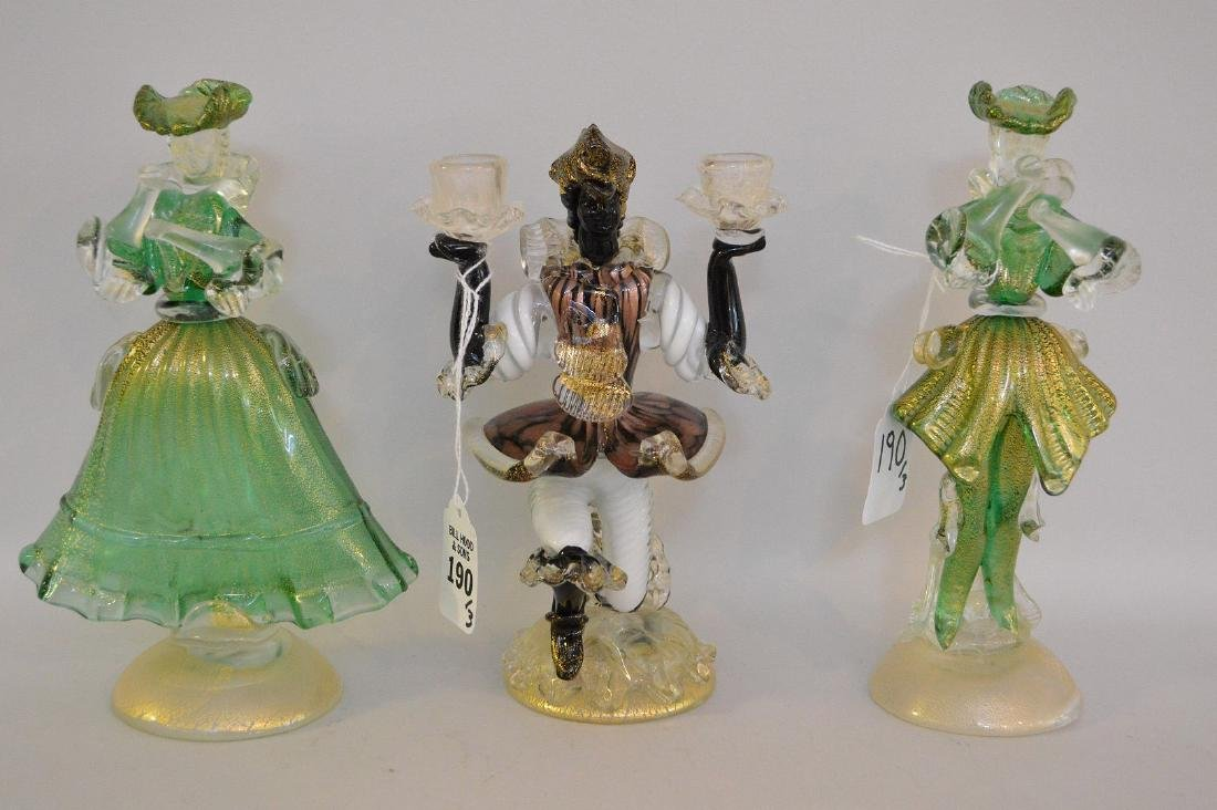 3 MURANO GLASS FIGURES.  2 Figures Man and Woman Ht.