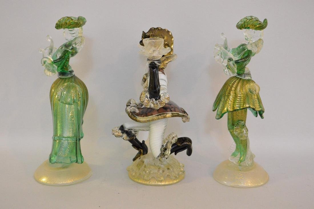 3 MURANO GLASS FIGURES.  2 Figures Man and Woman Ht. - 4