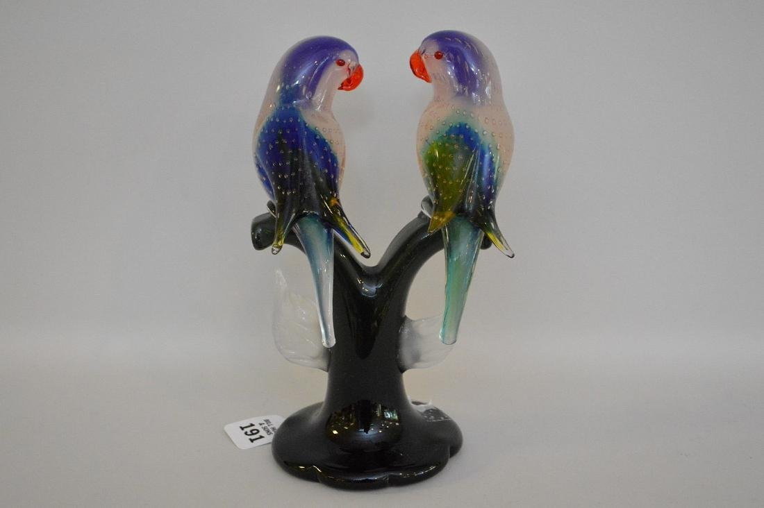 MURANO LOVE BIRDS SCULPTURE. Signed on the bottom. - 3