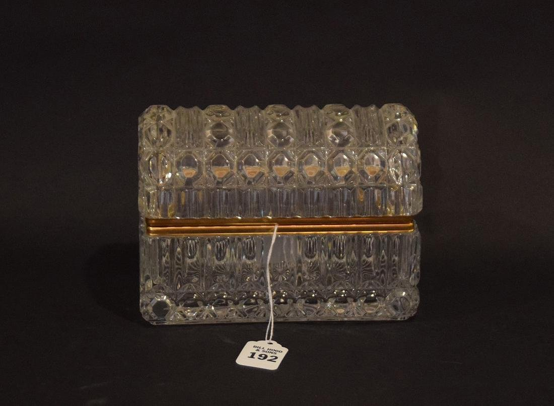CRYSTAL & GLASS BOX with hinged top.  Condition: good