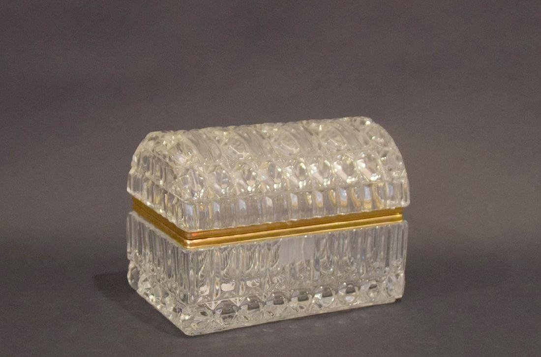 CRYSTAL & GLASS BOX with hinged top.  Condition: good - 4