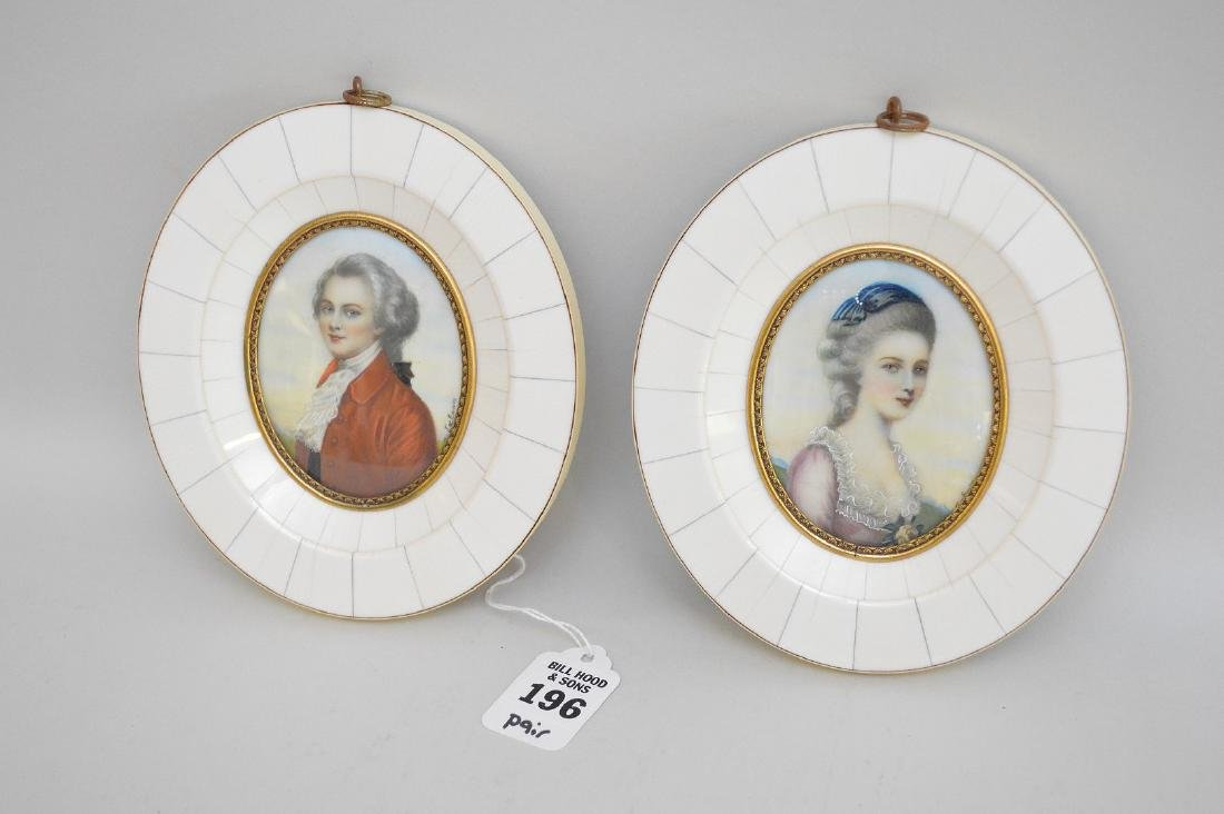 PAIR FRENCH PORTRAITS each signed M. Latoun.