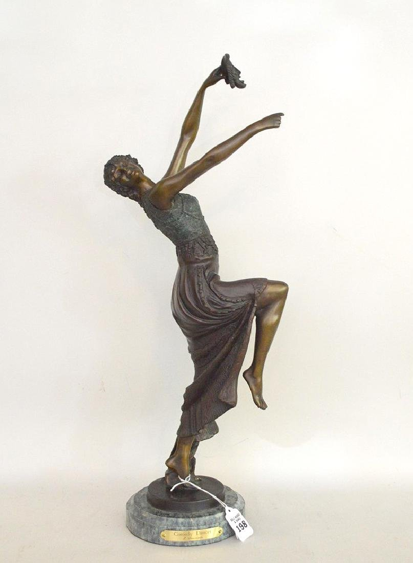 "BRONZE SIGNED J. DESCOMBS.  "" the Comedy Dancer"""