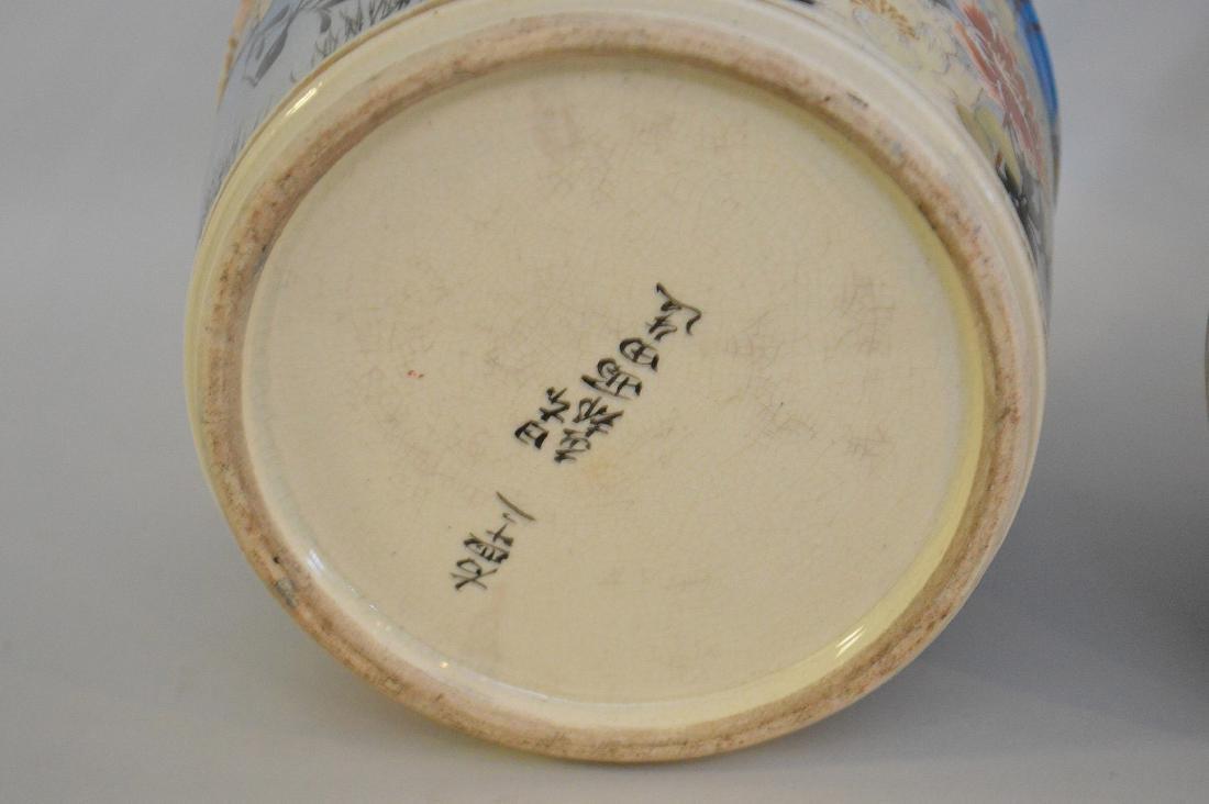 PAIR OF MEIJI PERIOD SATSUMA BUCKET-FORM VASES - signed - 7