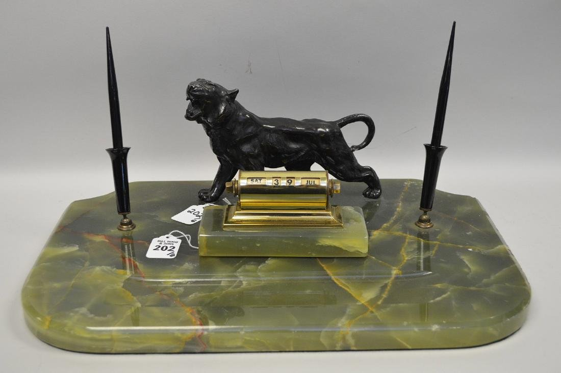 PATINATED METAL & ONYX DECK STAND with figural tiger
