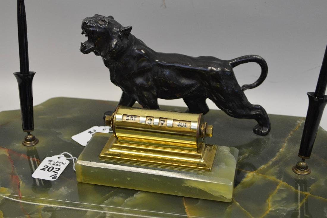 PATINATED METAL & ONYX DECK STAND with figural tiger - 2