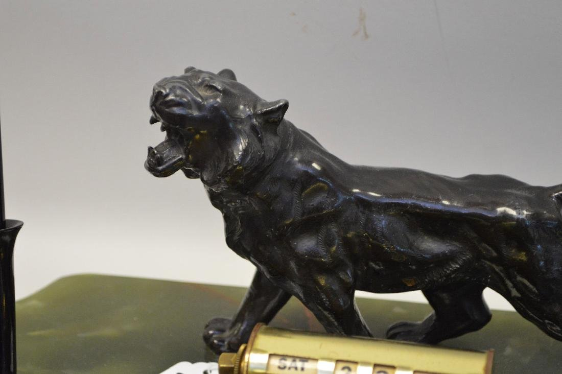 PATINATED METAL & ONYX DECK STAND with figural tiger - 3