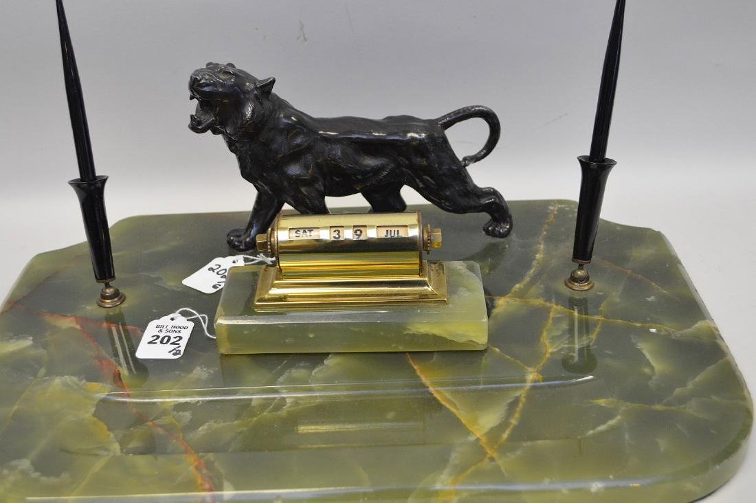 PATINATED METAL & ONYX DECK STAND with figural tiger - 4