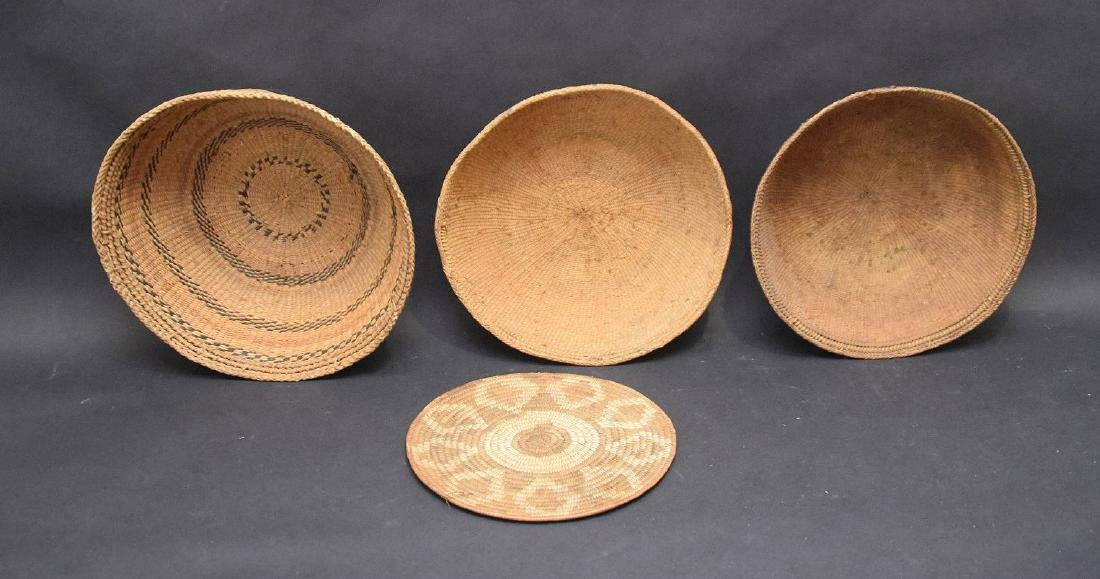 3 Indian baskets and one flat piece