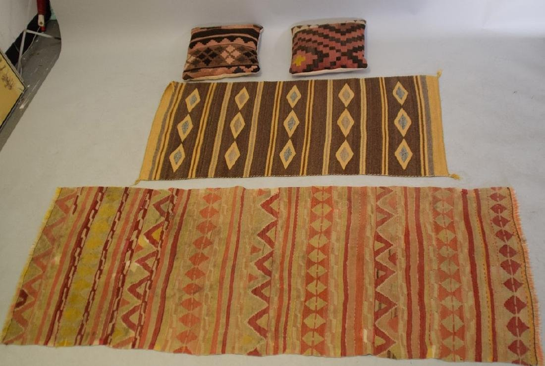 2 Flat weave Rugs sold with 2 kilim pillows