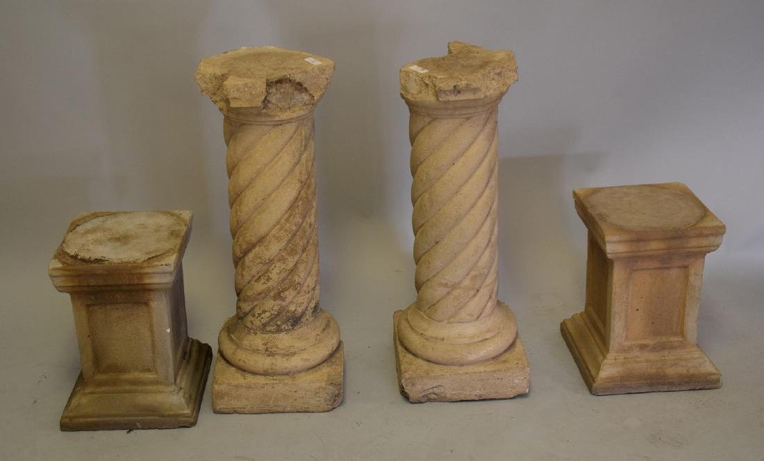 4 Cement Pedestals (2 Pairs) large pr. 31inches & small