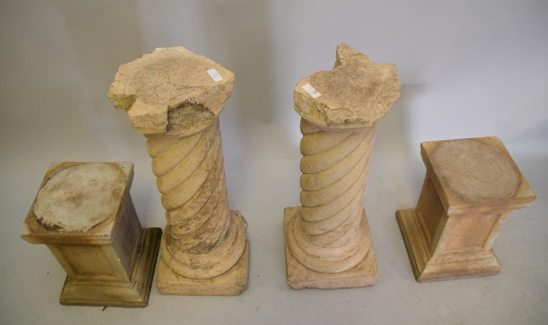 4 Cement Pedestals (2 Pairs) large pr. 31inches & small - 2
