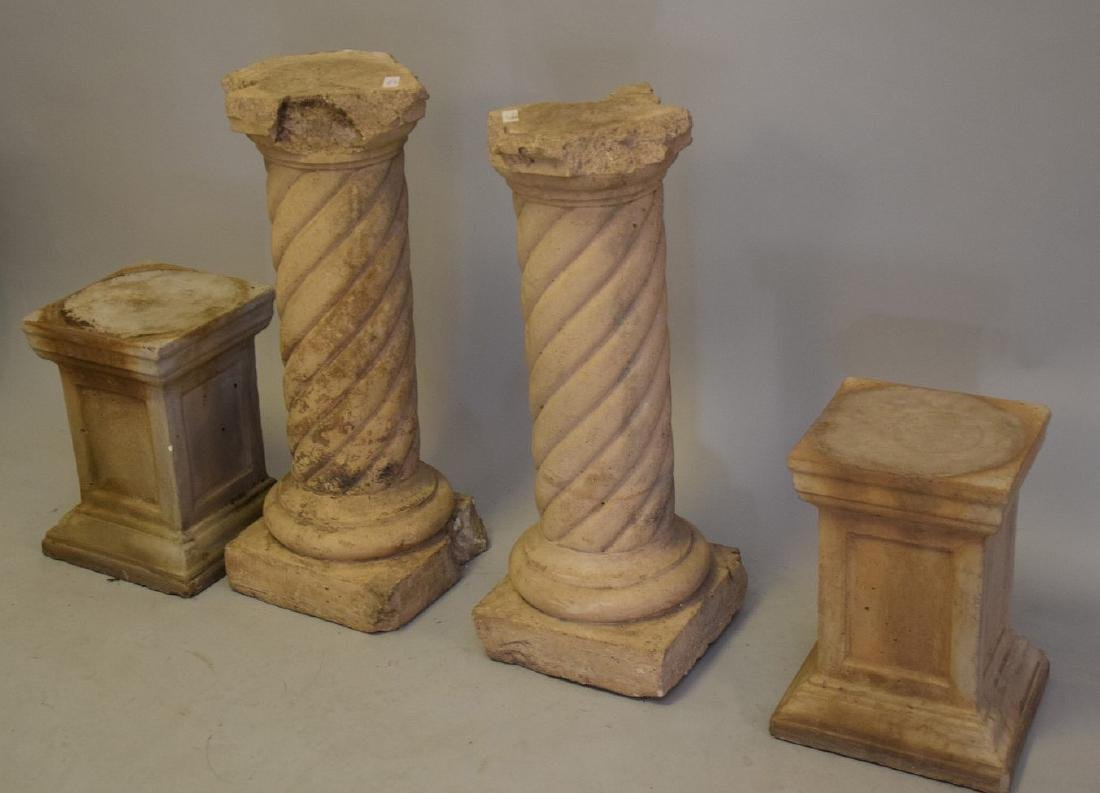 4 Cement Pedestals (2 Pairs) large pr. 31inches & small - 3