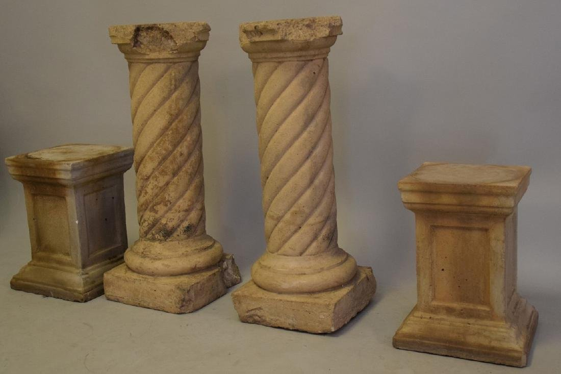4 Cement Pedestals (2 Pairs) large pr. 31inches & small - 4
