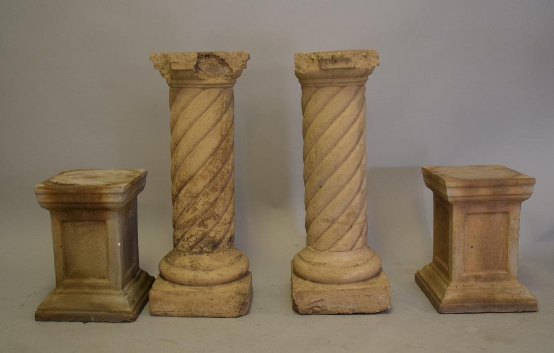 4 Cement Pedestals (2 Pairs) large pr. 31inches & small - 5