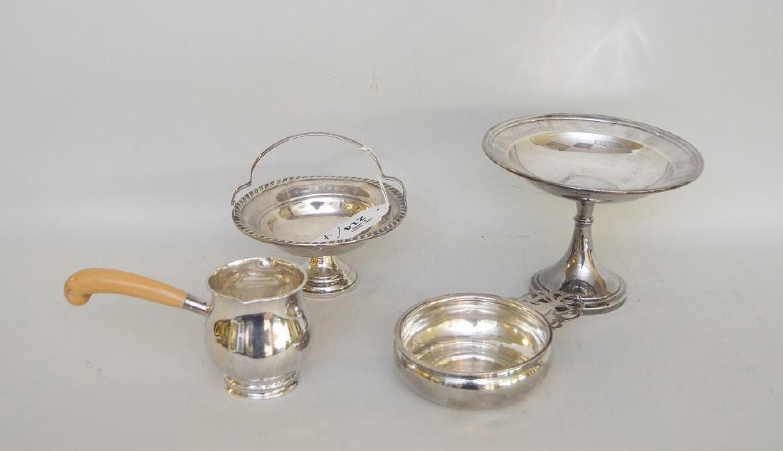 2 sterling weighted pedestal bowls, 1 sterling