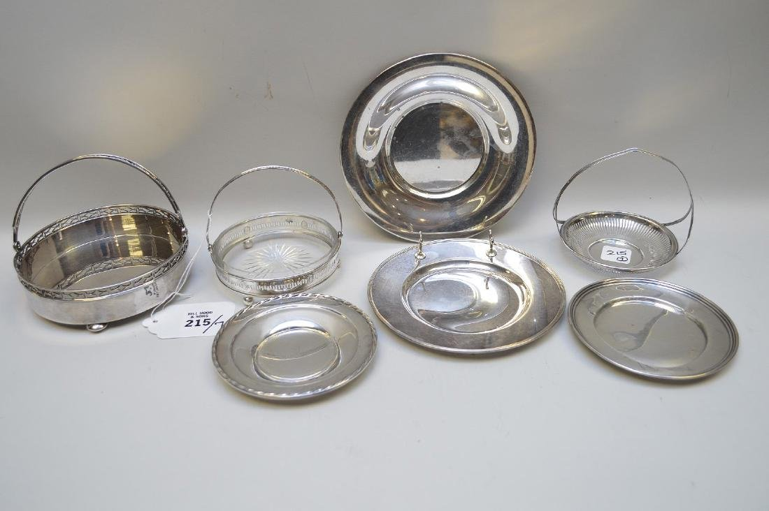 7 sterling pieces, incl 2 coasters with handles and 5