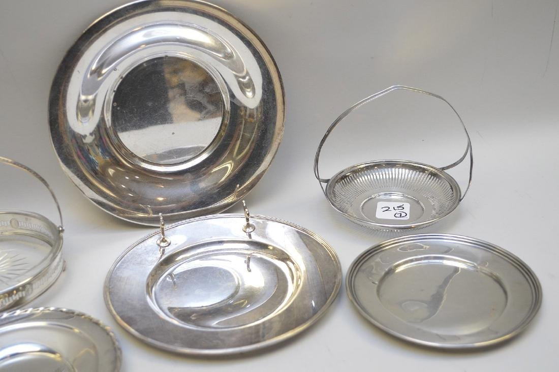 7 sterling pieces, incl 2 coasters with handles and 5 - 3