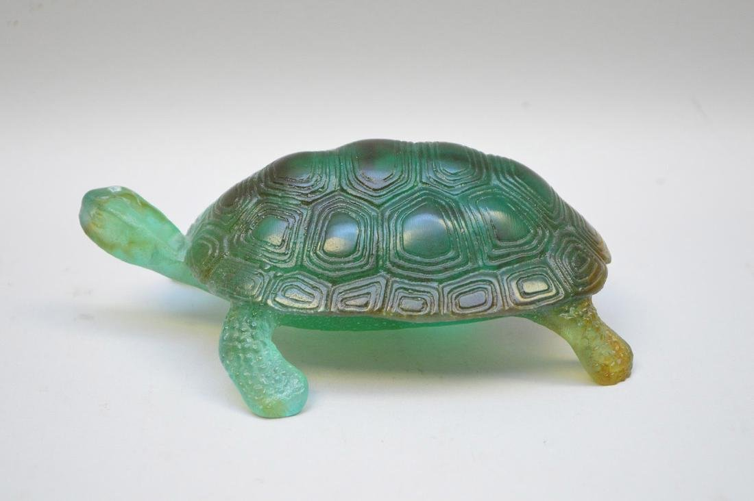 Daum France, Pate de Verre turtle, signed Daum France