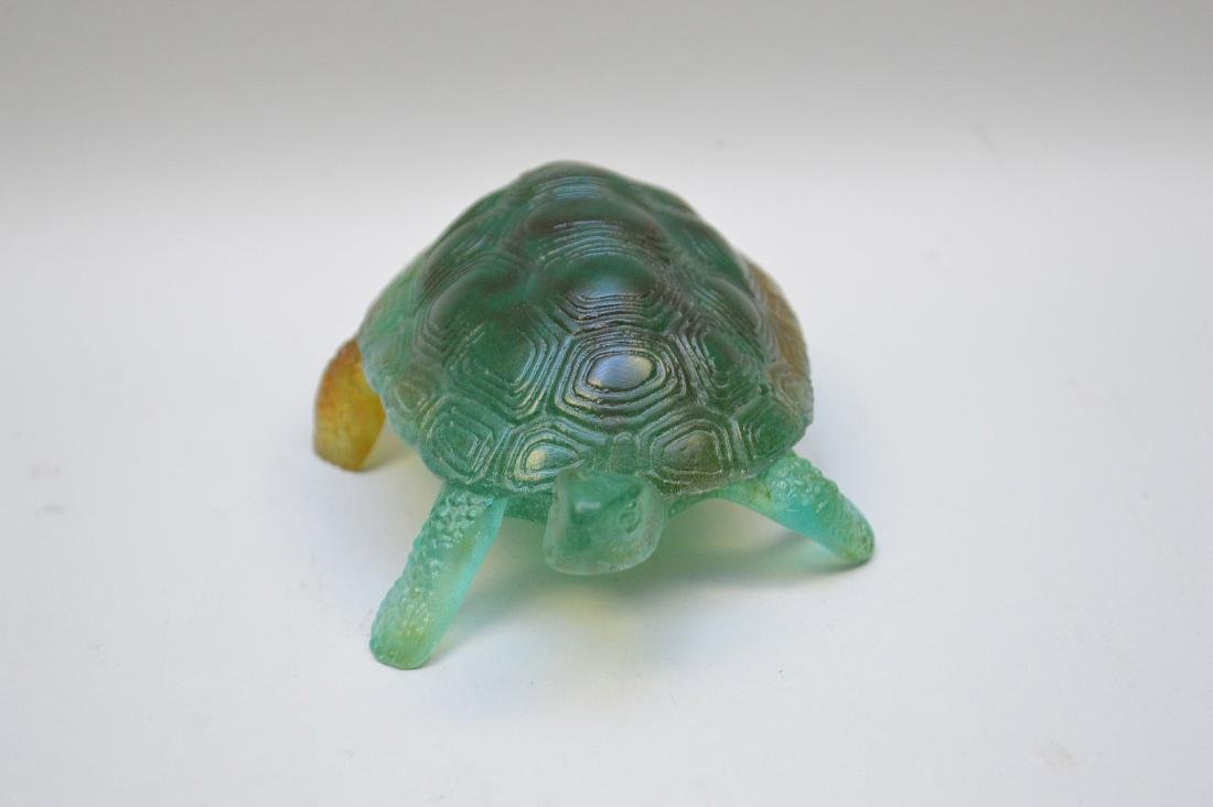 Daum France, Pate de Verre turtle, signed Daum France - 3