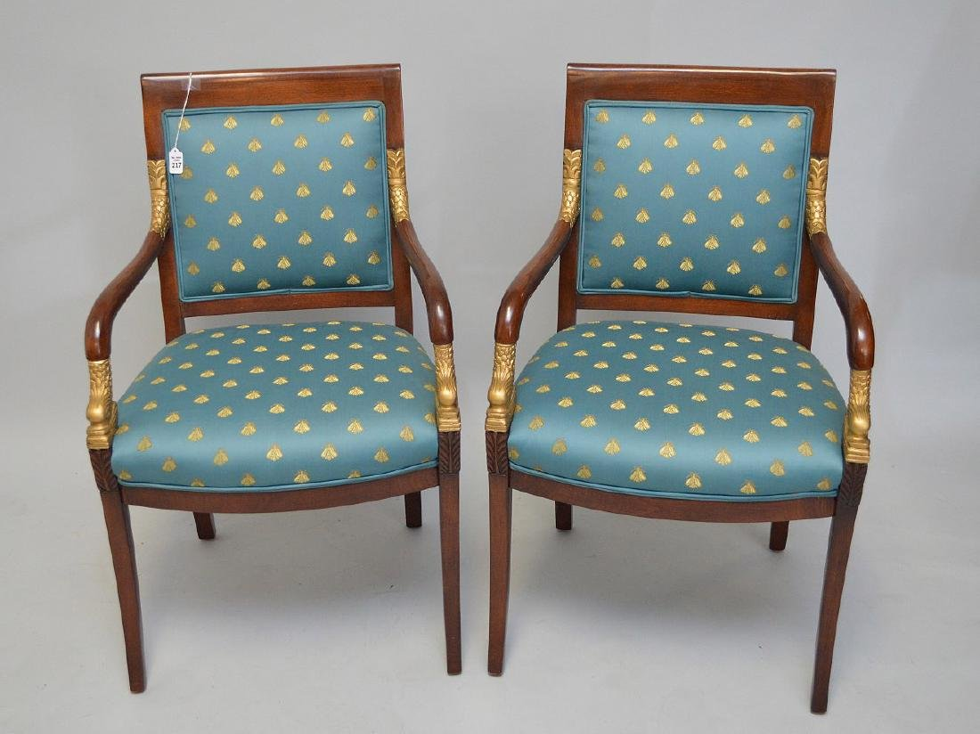 PAIR OF MAHOGANY AND CARVED GILT WOOD UPHOLSTERED