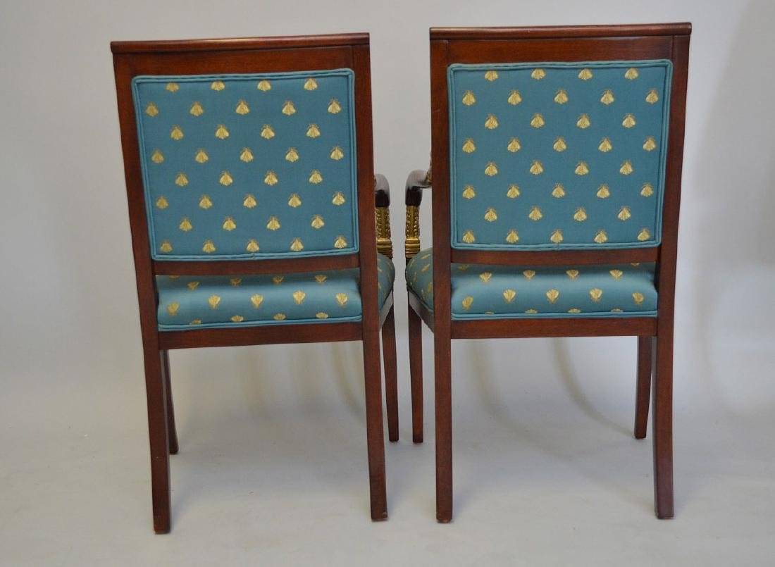 PAIR OF MAHOGANY AND CARVED GILT WOOD UPHOLSTERED - 3