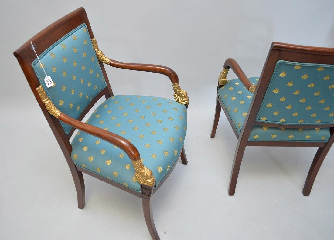 PAIR OF MAHOGANY AND CARVED GILT WOOD UPHOLSTERED - 4