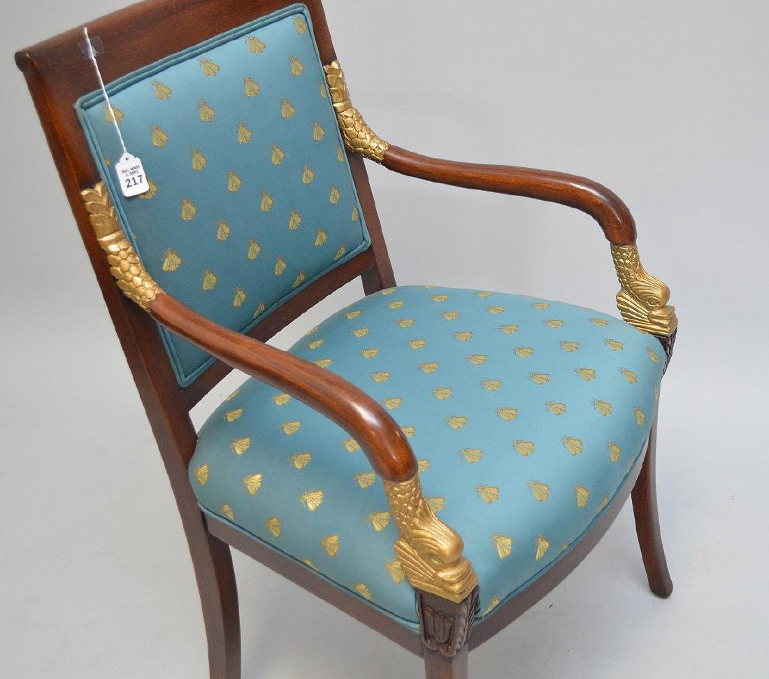 PAIR OF MAHOGANY AND CARVED GILT WOOD UPHOLSTERED - 5