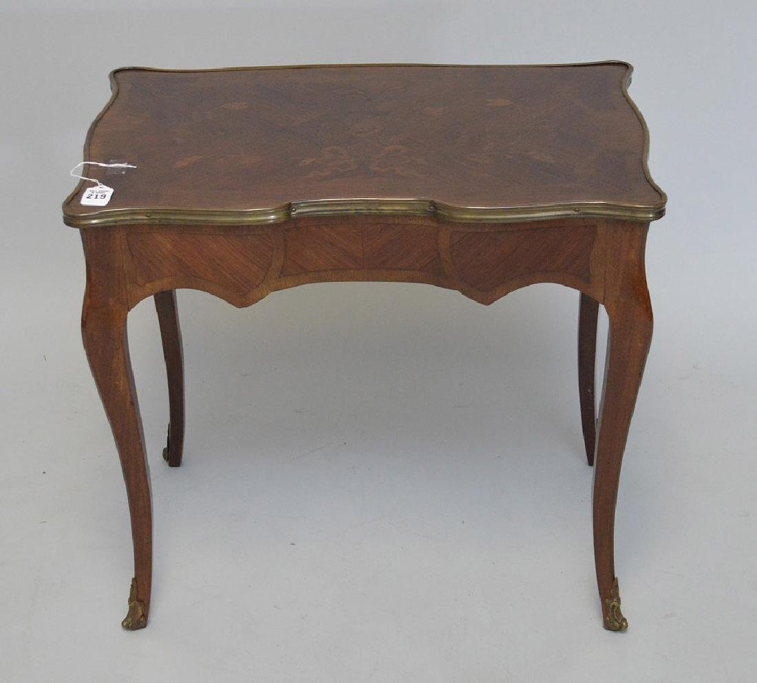 19TH CENTURY FRENCH INLAID LAMP TABLE WITH FITTED BRASS