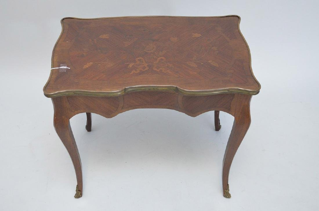 19TH CENTURY FRENCH INLAID LAMP TABLE WITH FITTED BRASS - 3
