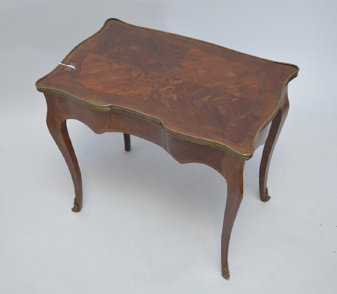 19TH CENTURY FRENCH INLAID LAMP TABLE WITH FITTED BRASS - 4