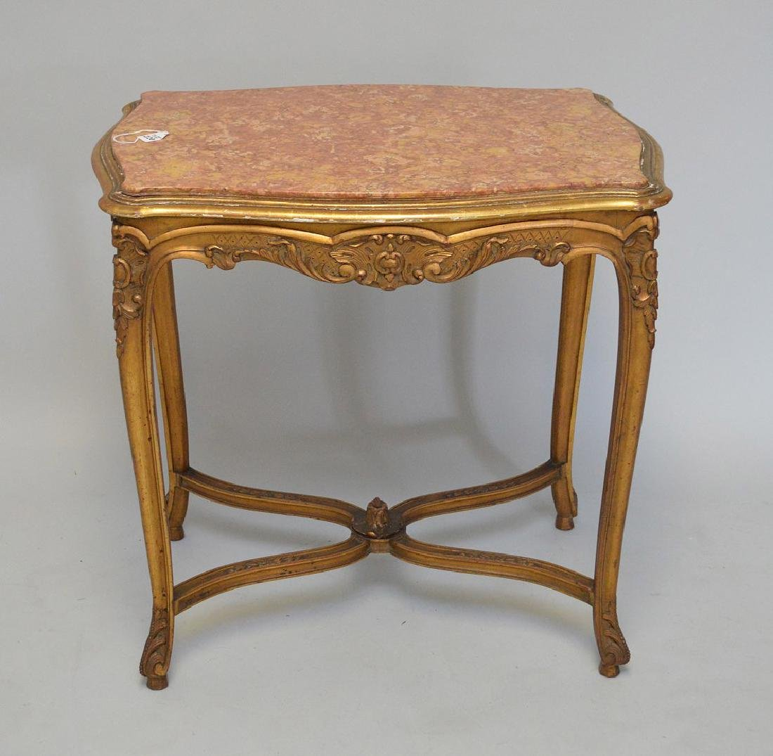 19TH CENTURY CARVED GILT WOOD TABLE WITH RUST COLORED