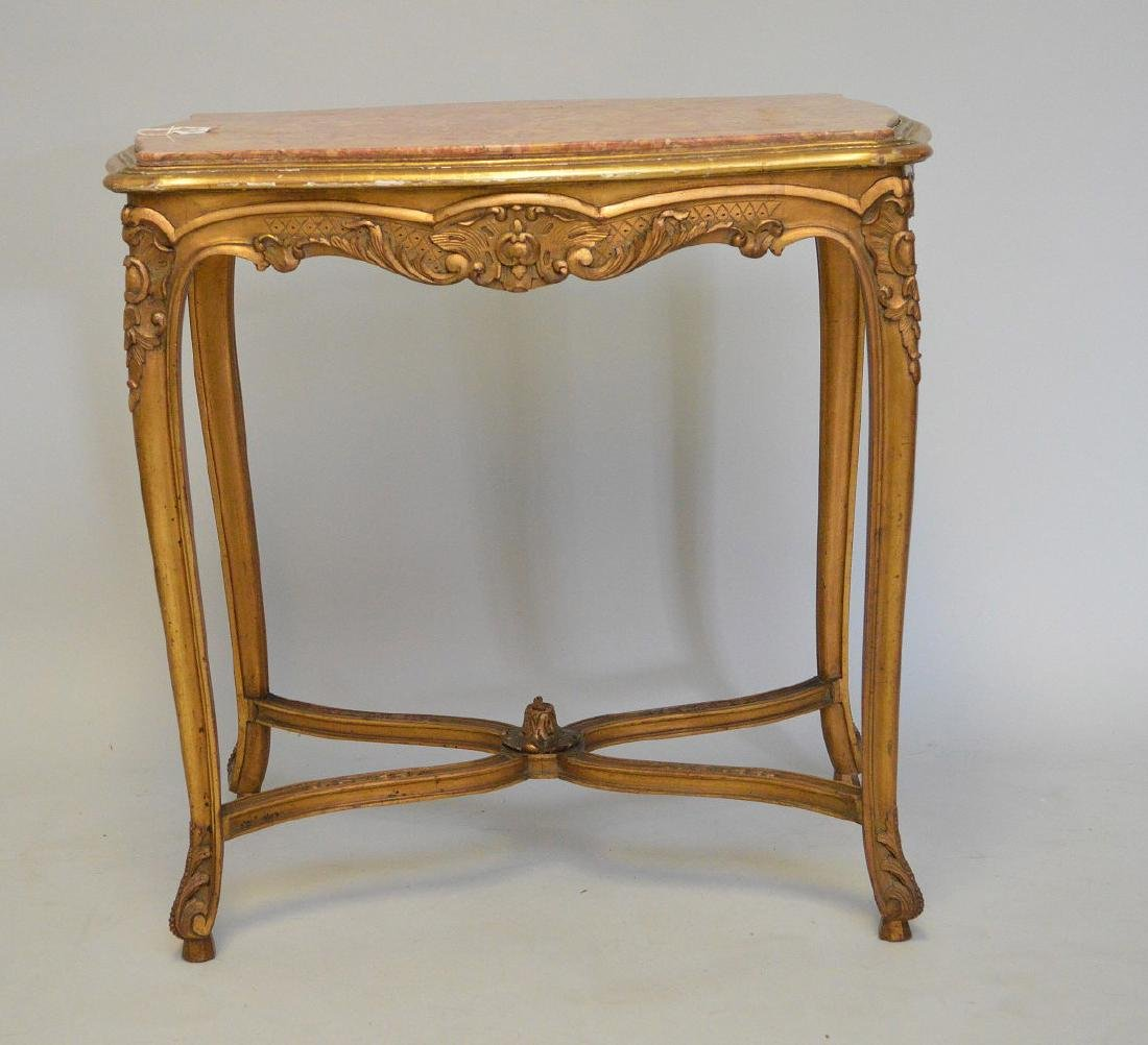 19TH CENTURY CARVED GILT WOOD TABLE WITH RUST COLORED - 2