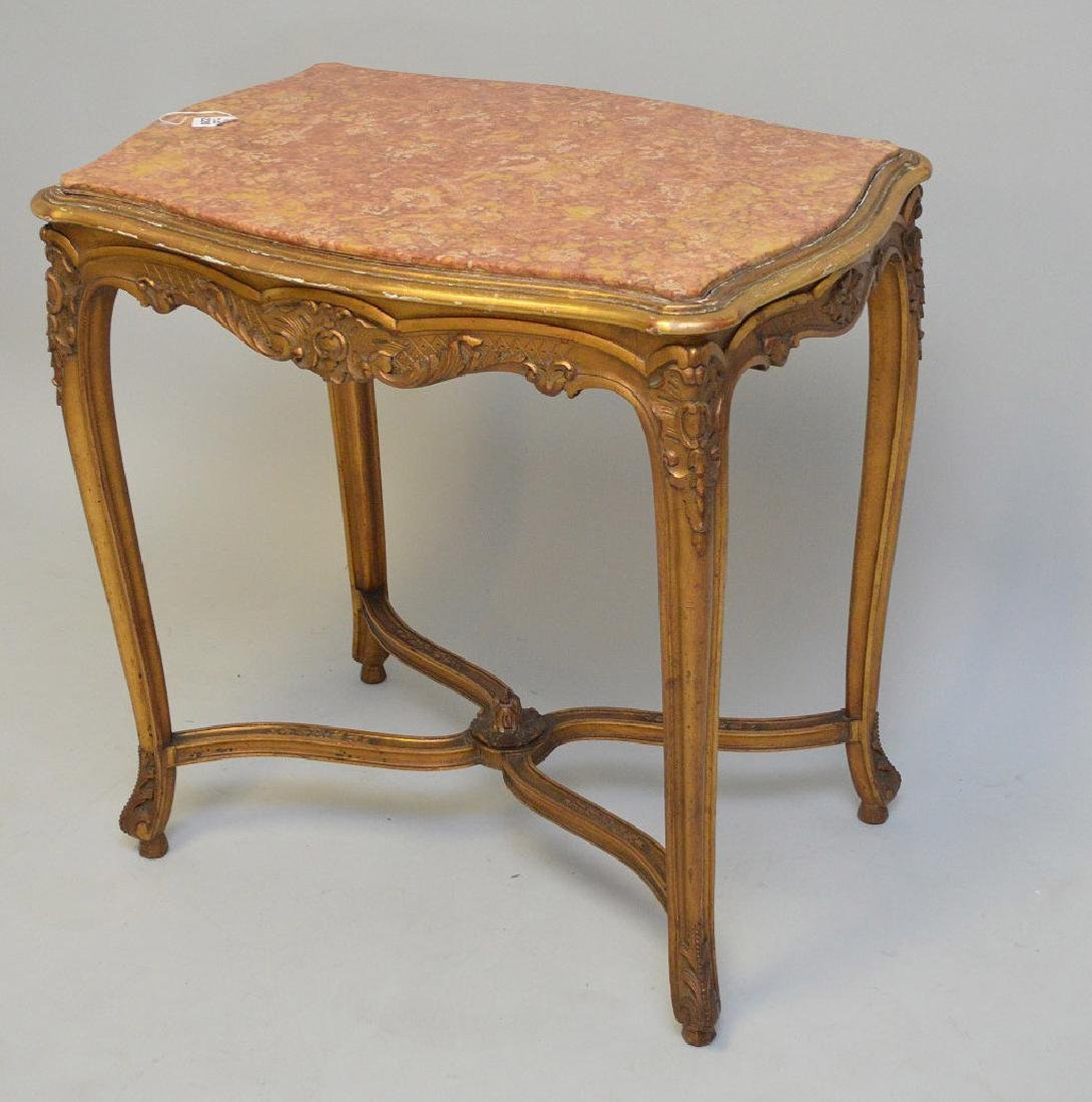 19TH CENTURY CARVED GILT WOOD TABLE WITH RUST COLORED - 3