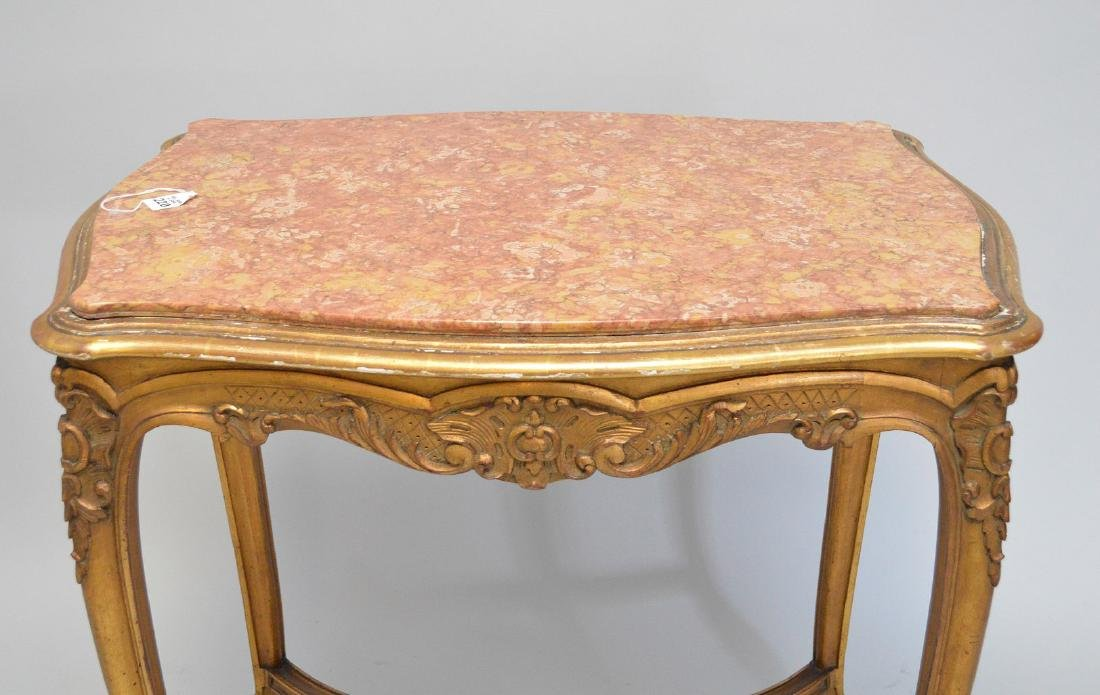19TH CENTURY CARVED GILT WOOD TABLE WITH RUST COLORED - 4