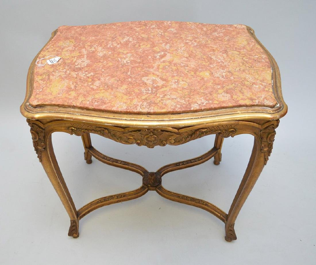 19TH CENTURY CARVED GILT WOOD TABLE WITH RUST COLORED - 5