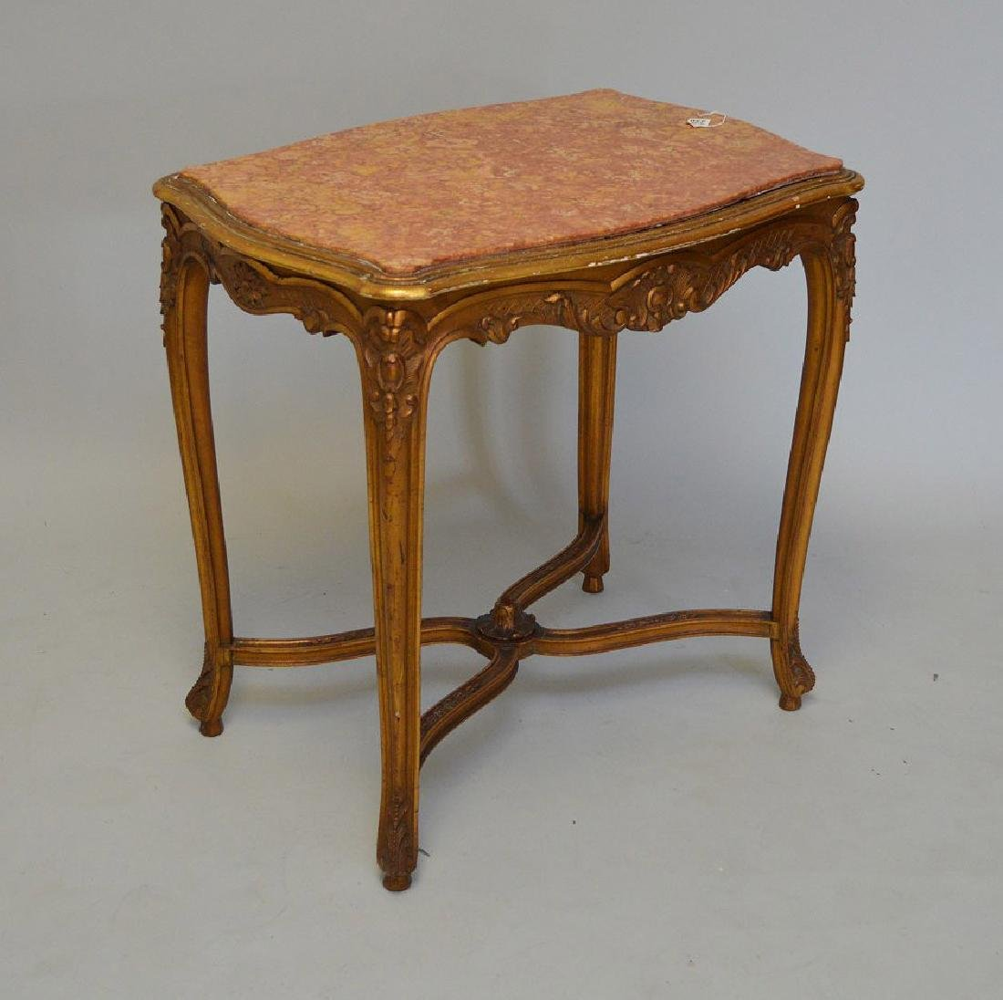19TH CENTURY CARVED GILT WOOD TABLE WITH RUST COLORED - 6