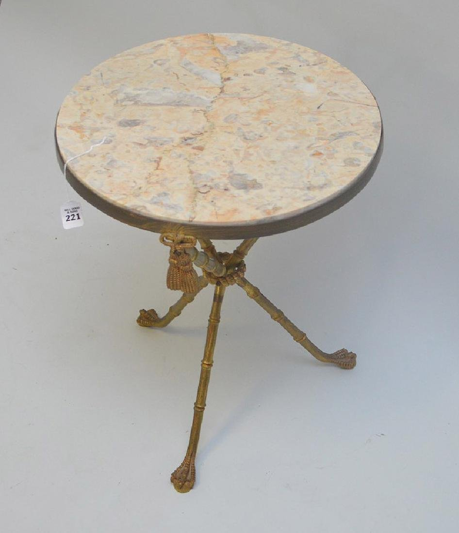 BRONZE BAMBOO FORM LAMP TABLE WITH BEIGE MARBLE TOP,