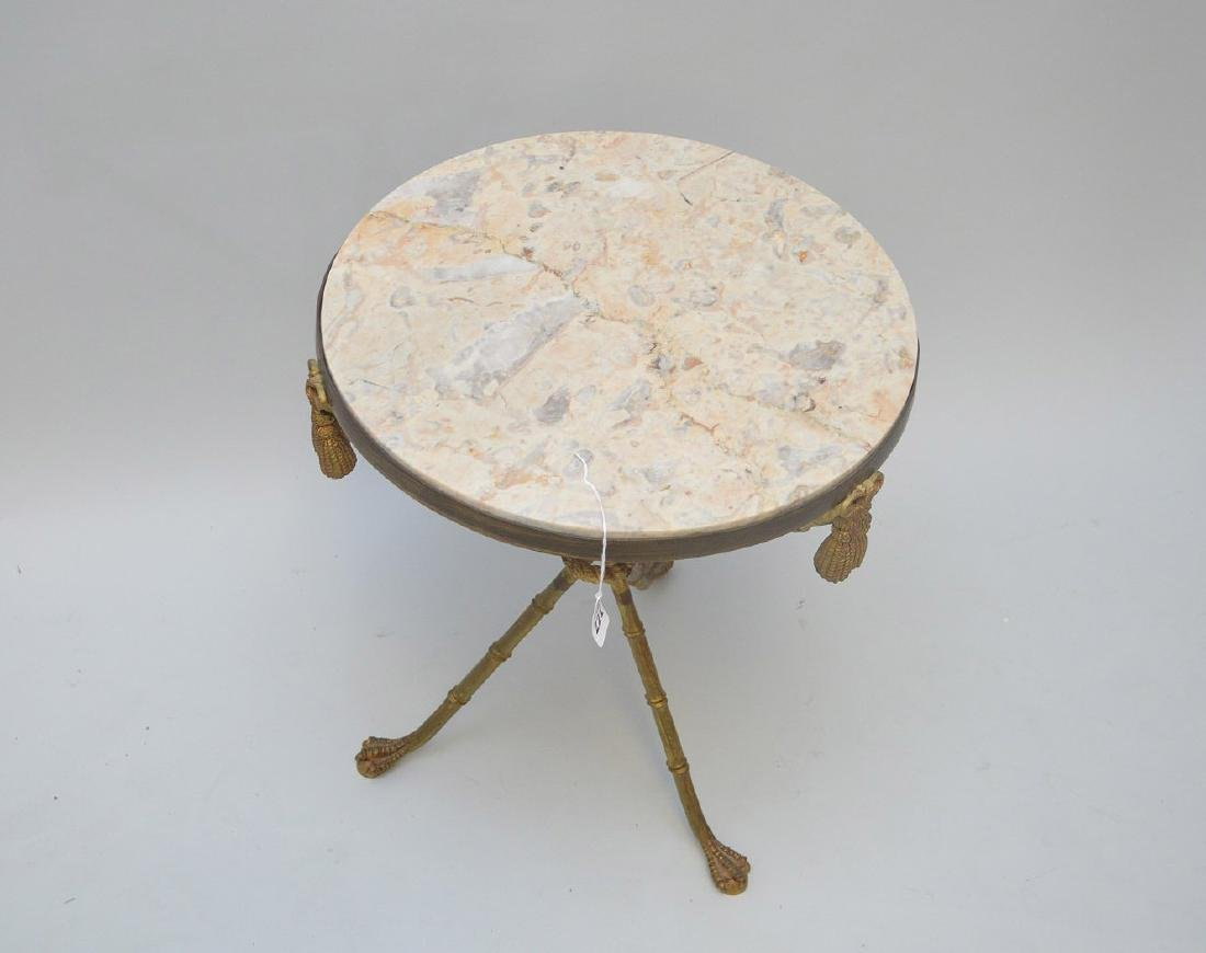 BRONZE BAMBOO FORM LAMP TABLE WITH BEIGE MARBLE TOP, - 2