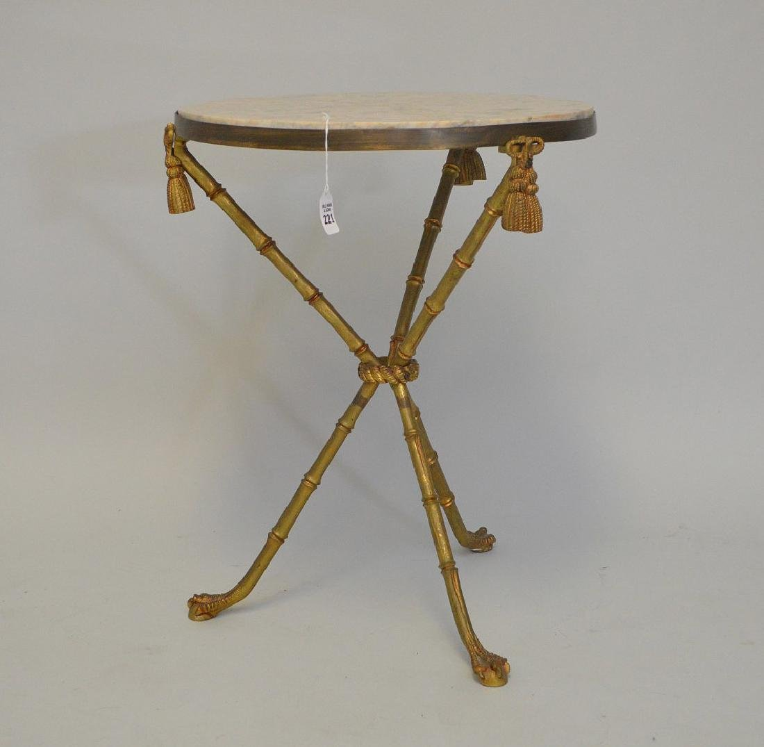 BRONZE BAMBOO FORM LAMP TABLE WITH BEIGE MARBLE TOP, - 3