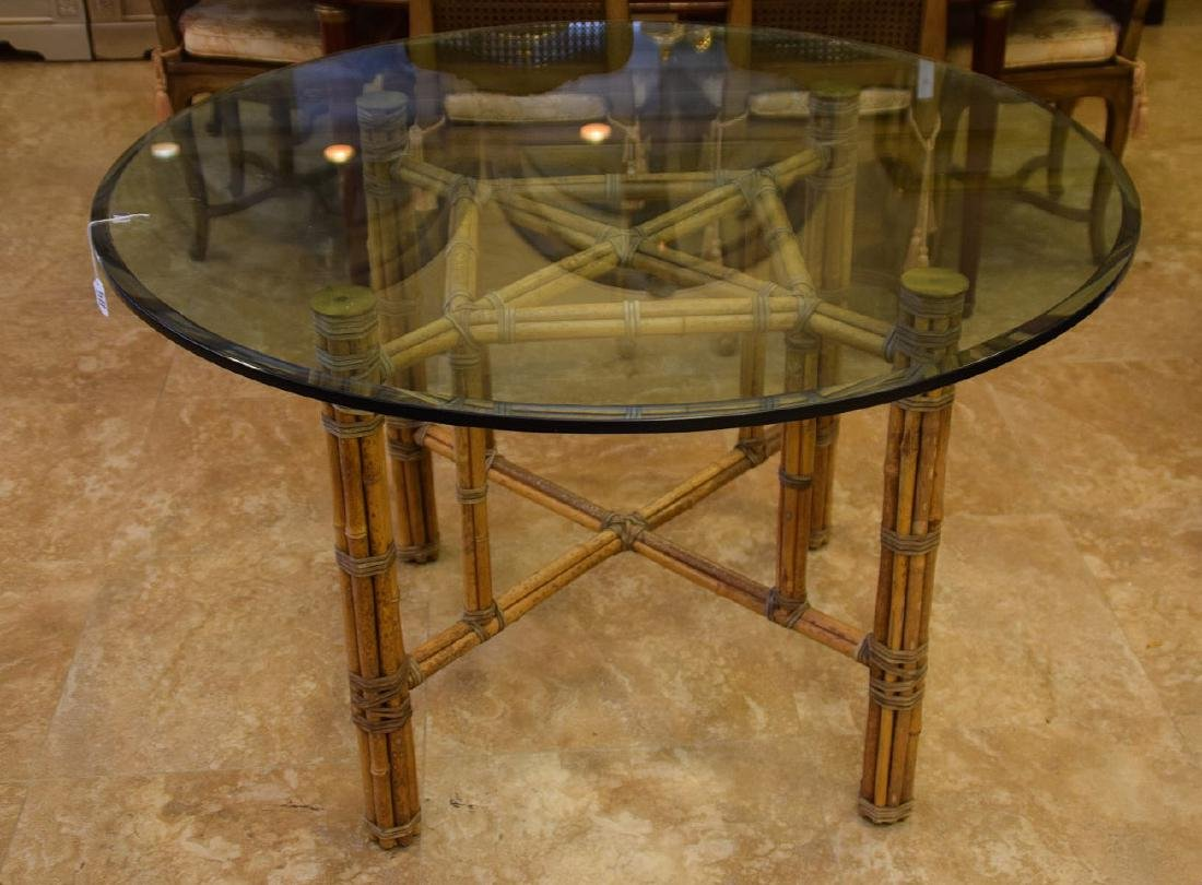 MCGUIRE RATTAN TABLE AND FOUR (4) CHAIRS, the table
