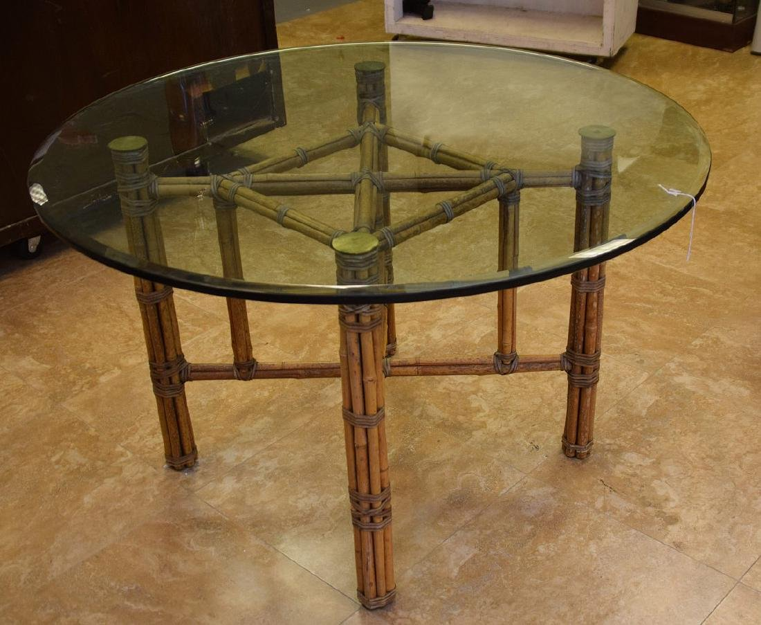 MCGUIRE RATTAN TABLE AND FOUR (4) CHAIRS, the table - 2