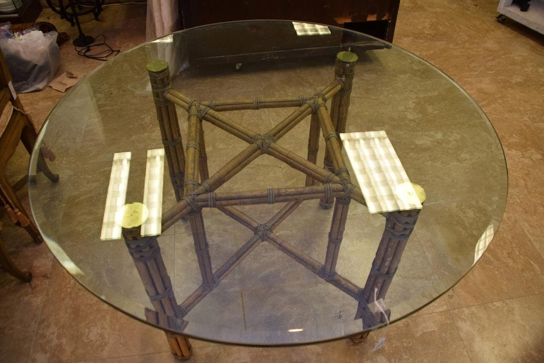 MCGUIRE RATTAN TABLE AND FOUR (4) CHAIRS, the table - 3