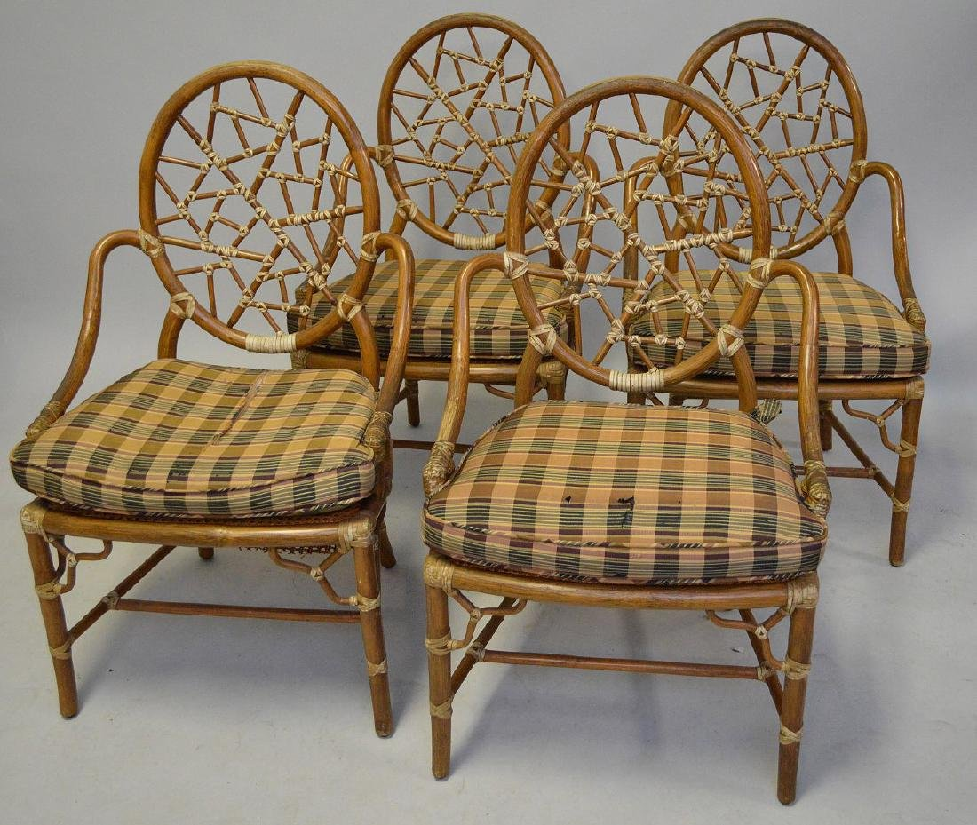 MCGUIRE RATTAN TABLE AND FOUR (4) CHAIRS, the table - 4
