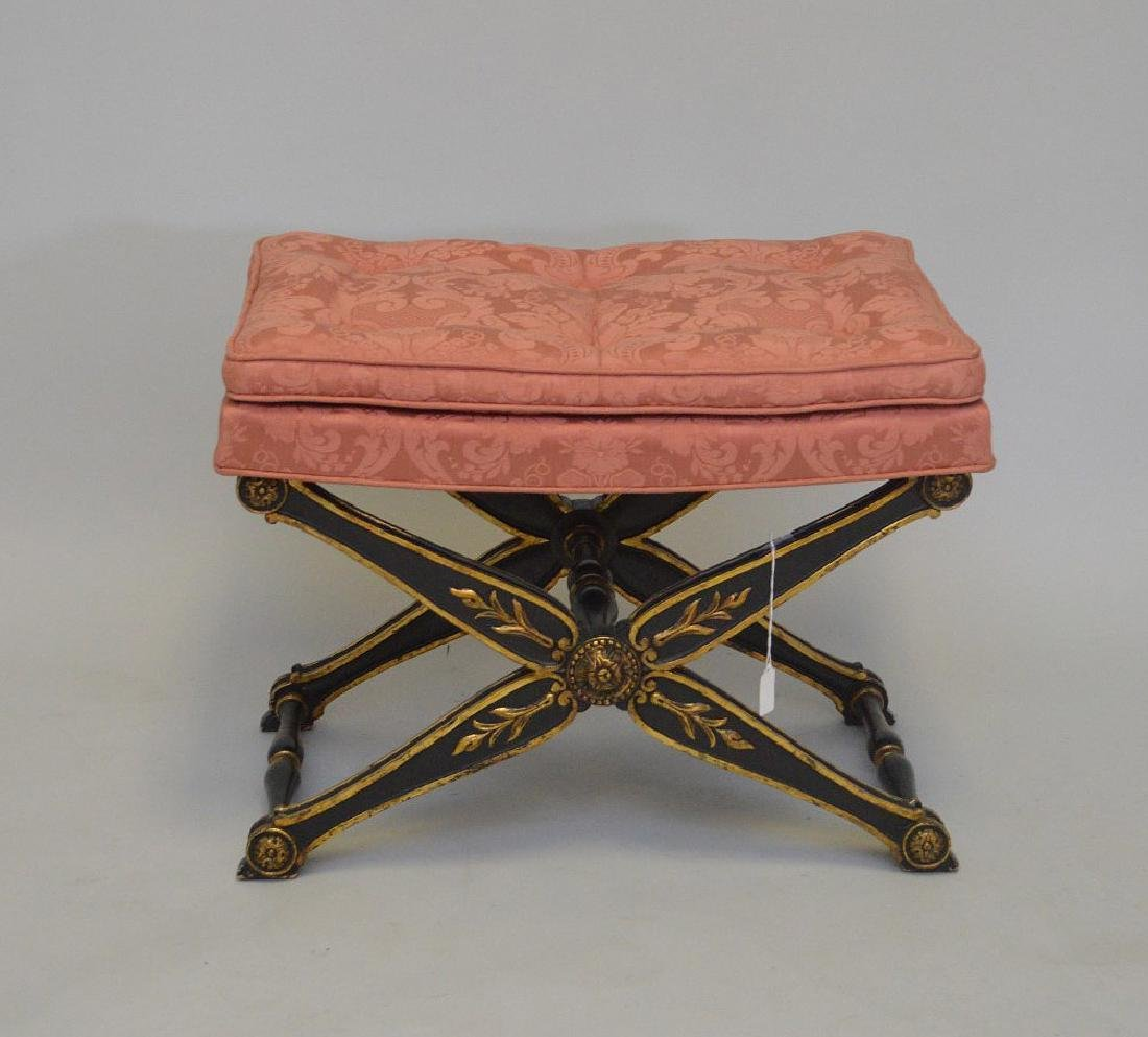 CARVED GILT WOOD AND EBONIZED BENCH WITH UPHOLSTERED