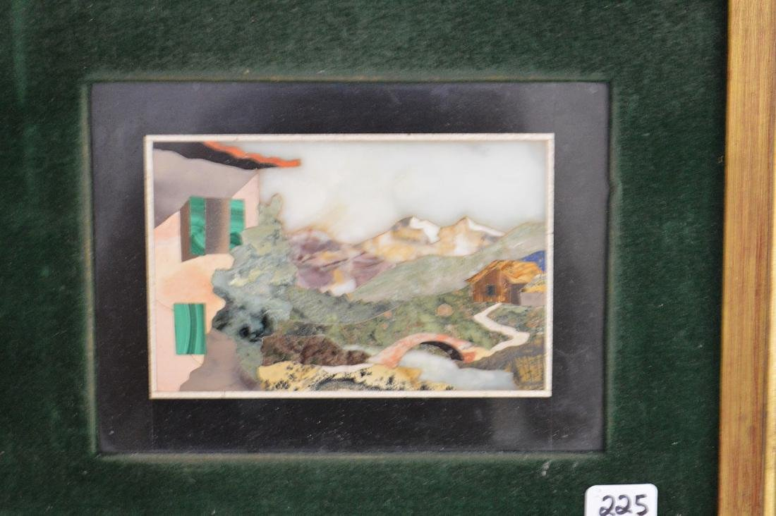 TWO FRAMED PIETRA DURA PLAQUES.  1 Mountain Landscape - 3